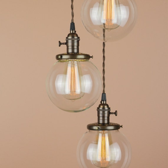 Chandelier Lighting - Pendant Lights w/ 6 inch Clear Glass Globes - Oil Rubbed Bronze Finish - Edison Light Bulb - Antique Reproduction Wire