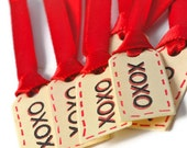 XOXO mini tags. Vlentine Hugs and kisses miniature paper tags with red satin ribbon. Set of 6 super cute and tiny gift tags