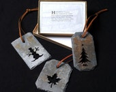 Snowman ornament made in VT using reclaimed roofing slate