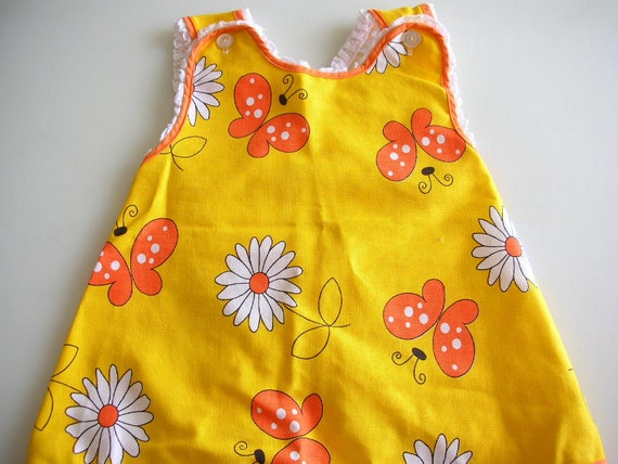 MOD Butterfly Toddler Smock Dress Size 4 Cutler Daisy Butterflies LIKE NEW from The Back Part of the Basement