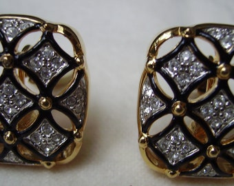 SWAROVSKI Rhinestones and Lacquer Clip Earrings