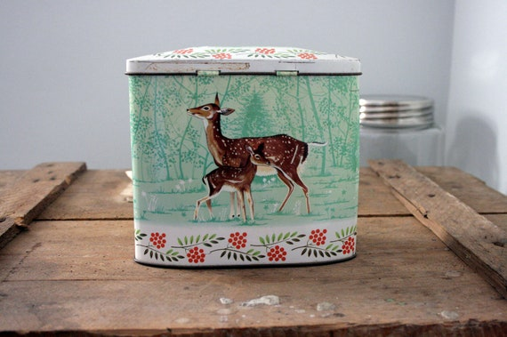 rare vintage deer gray dunn biscuit tin