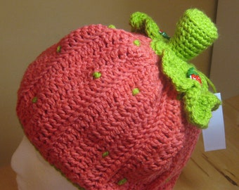 Crocheted Strawberry  Hat