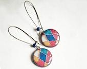 Multicolor mosaic earrings dangle, mosaic jewelry