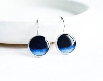 Galaxy earrings, space jewelry, astronomy, dark blue earrings