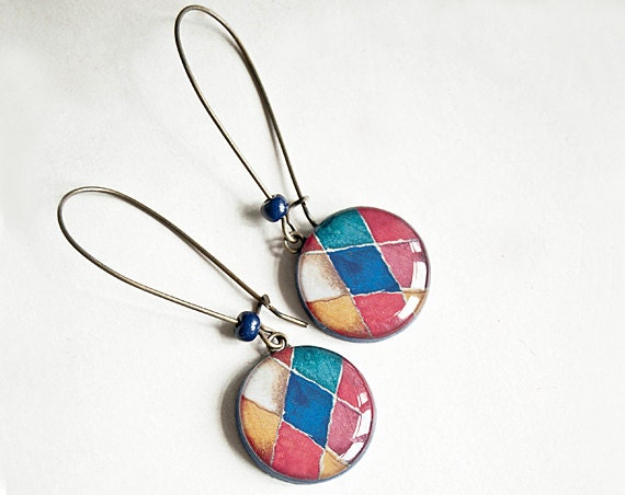 Multicolor mosaic earrings dangle, mosaic jewelry