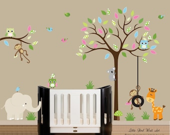 Children wall decals jungle safari tree wall decal vinyl decal tree wall - 034