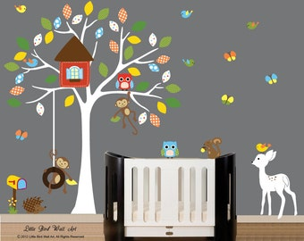 Children wall decals vinyl wall decal - nursery vinyl decal white tree wall sticker