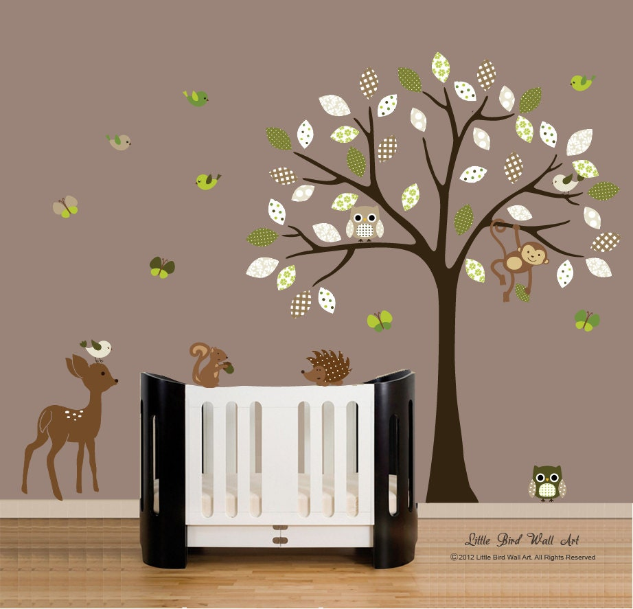 wall decals children 39 s wall decal tree with forest. Black Bedroom Furniture Sets. Home Design Ideas