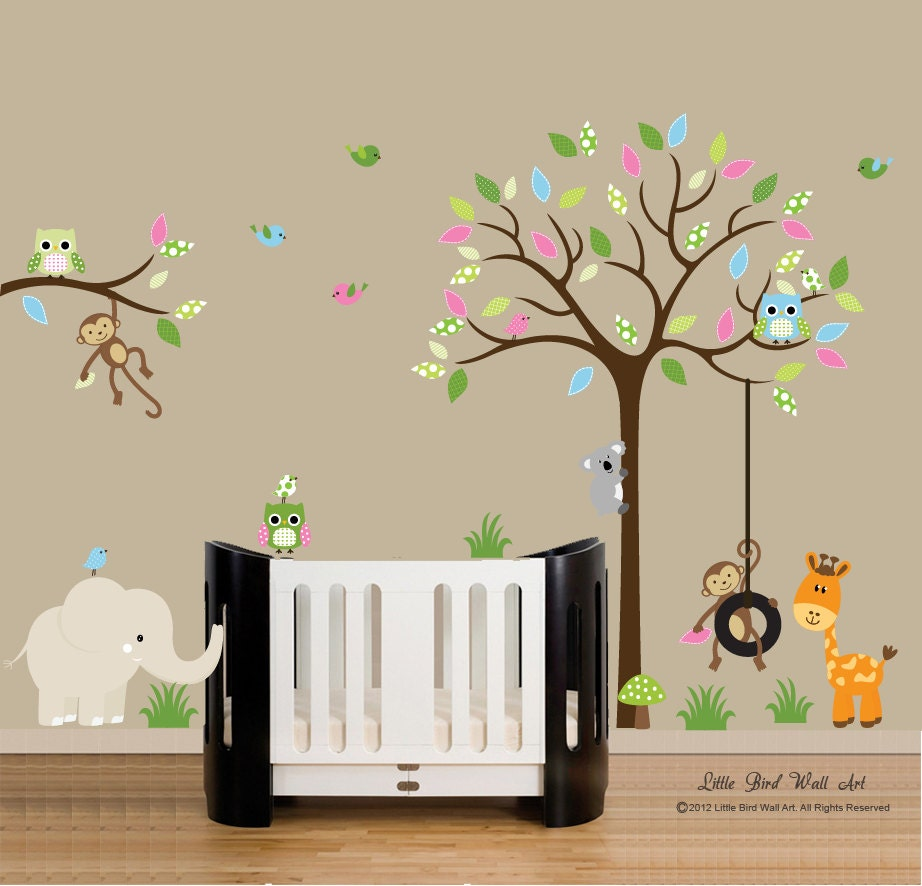children wall decals jungle safari tree wall decal vinyl decal. Black Bedroom Furniture Sets. Home Design Ideas