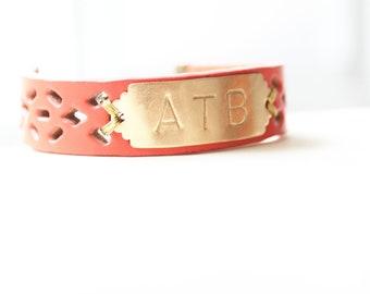 Personalized Bracelet, Monogram Leather Bracelet, Coral Pink, Initial Bracelet, Personalized Bracelet, Name Bracelet, Custom Name Bracelet