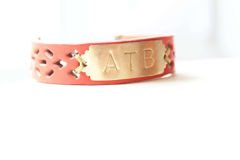 personalized bracelet monogram leather bracelet coral pink