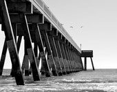 Black and White Beach Pier OceanNorth Carolina Fine Art Decor 8x10 KarenWebbPhotography