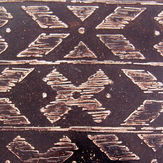Etched Copper Sheet, Southwest Borders, Black, 4x3 inches, 24g