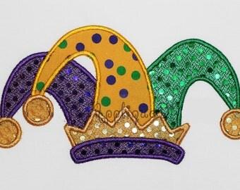 Mardi Gras  Jester Hat Embroidery Design Machine Applique