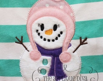 Winter Snowgirl Digital Embroidery Design Machine Applique
