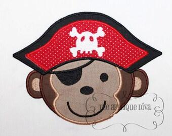 Pirate Monkey Embroidery Design Machine Applique