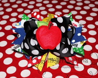 Back To School Apple Hair Bow Center Embroidery Design Machine Applique