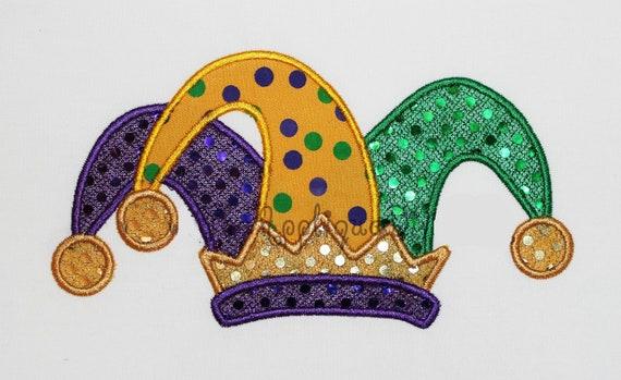 mardi gras jester hat embroidery design machine applique. Black Bedroom Furniture Sets. Home Design Ideas