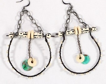 Boho Jewelry- Long Dangle Earrings, Tribal wire hoop earrings, gypsy coin charms, bone beads, chain earrings, large hoops