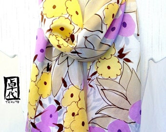 Hand painted silk scarf Yellow and Purple Sunshine Meadow Floral Scarf. Silk Scarves Takuyo. Silk Satin. Approx 10x56 in.