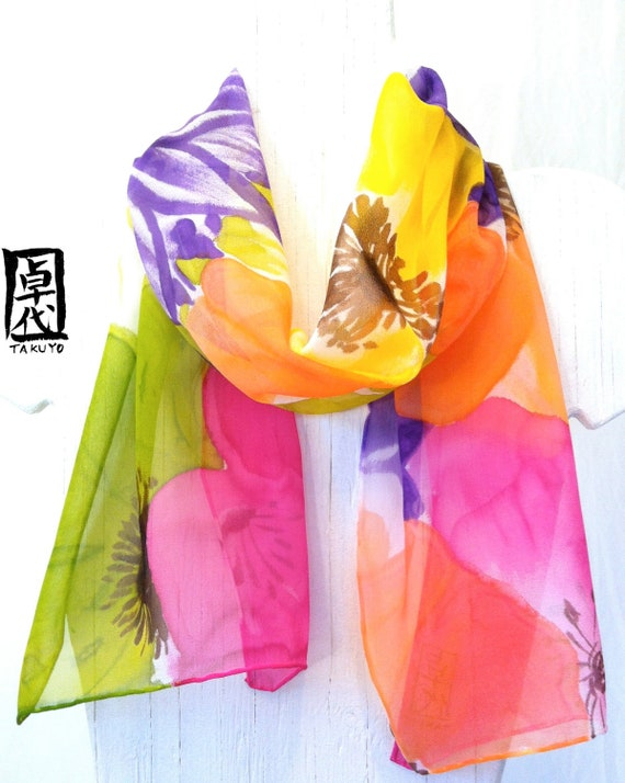 Scarf Gift for Wife, Posh Flower Scarf, Rainbow Flowers Scarf, Chiffon Scarf, Handpainted Scarf, Multicolor Scarf, 11x60 in, Made to order,