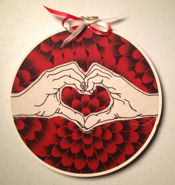 Heart Hands: Hand Embroidered
