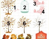 Fall Tree and Birds , Autumn Leaves, Fall Leaf Clip Art. Personal and Small Commercial Use. BP 0293