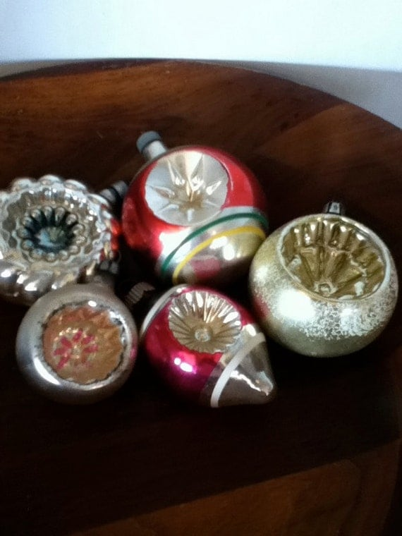 vintage christmas indent balls christmas decor vintage christmas tree ornaments 50s christmas