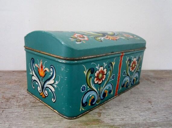 Vintage Norwegian Turquoise Folk Art Candy Tin