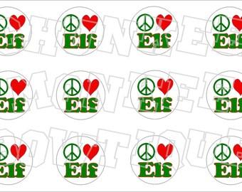 Peace Love Elf bottlecap image sheet
