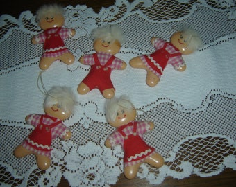 Gingerbread man/gingerbread girls Xmas ornaments/bowl fillers, gingers collection, plastic gingers, vintage ornies, 50s holiday decor, qty 5