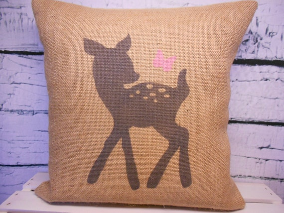 Child's deer and butterfly pillow cover - burlap - perfect for a rustic nursery - child's name can be added - Pillow Insert Sold Separately