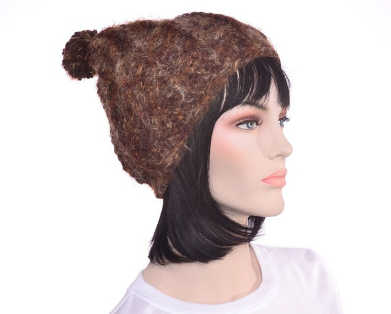 Fuzzy Beanie Hat Brown Peaked Wool Crochet Pompom Mens Hat Womens Hat
