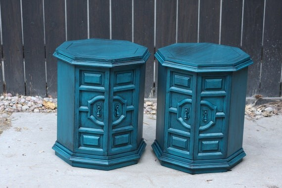 Pair of Peacock Blue Side/End Tables