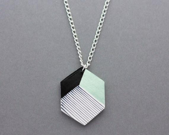 Geometric Hexagon Shape Stripe Necklace (Mint - Black) - Modern Handmade Jewellery