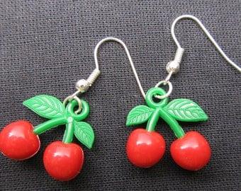 Cherry Earrings mini red-green Miniblings Earring Cherries