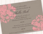 bridal shower invitations, pink and gray bridal shower invitations, bubblegum pink bridal shower invitations, baby shower invitations