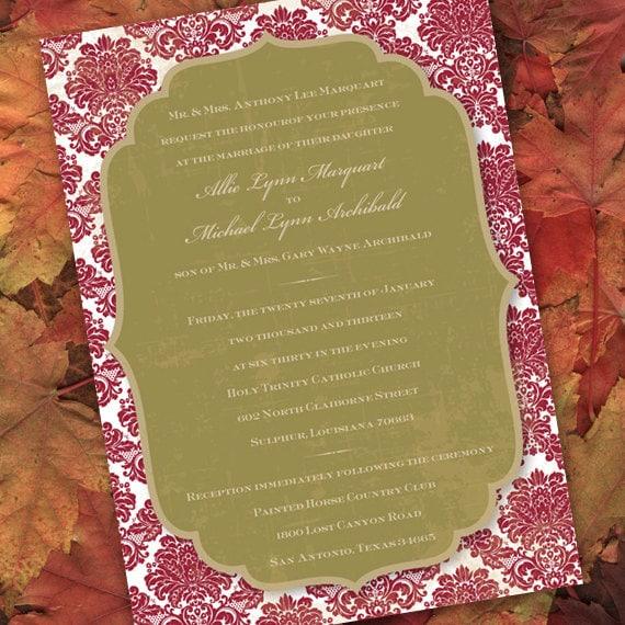 wedding invitations printed, bridal shower invitations, avocado and cranberry wedding, sage and cranberry bride, cranberry bride, IN167