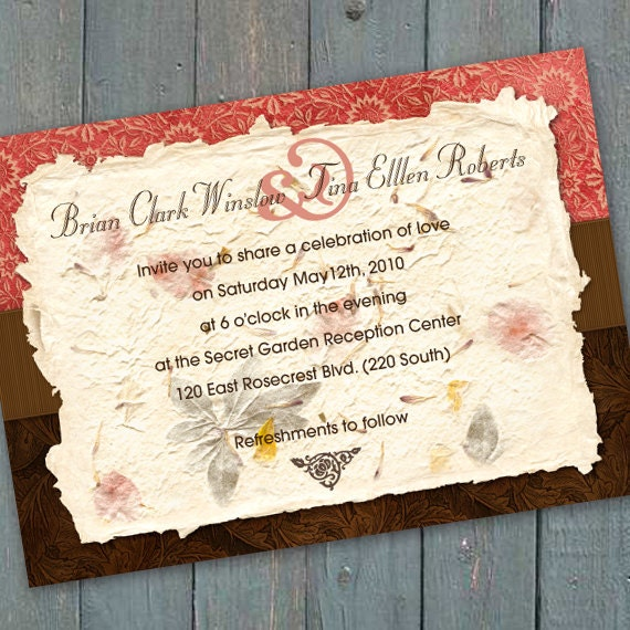 wedding invitations, bridal shower invitations, coral and chocolate wedding invitation, deep brown and coral bridal shower