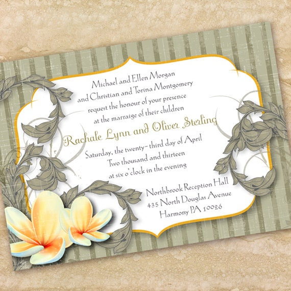 wedding invitations, orchid wedding invitations, sage wedding shower invitations, sage bridal shower invitations, water lily bridal shower
