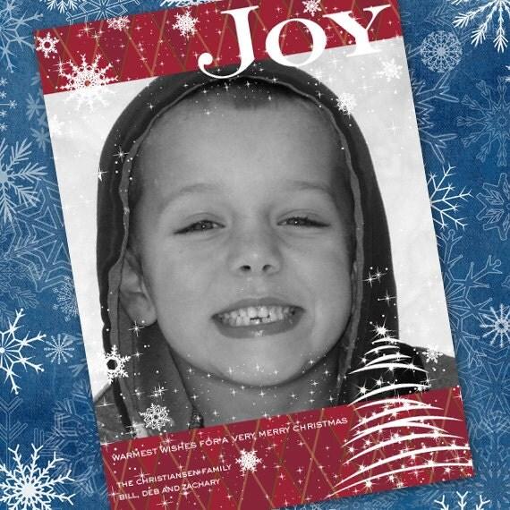 Christmas cards, Joy Christmas card, snowflakes Christmas card, red and white Christmas, Joy Christmas card, winter greetings card, CC018
