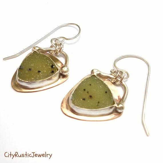 Kiwi Green Sparkly Drusy Earrings, Silver, Brass