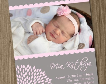 Sweet Baby Girl Birth Announcement (Digital File) Alexis - I Design, You Print