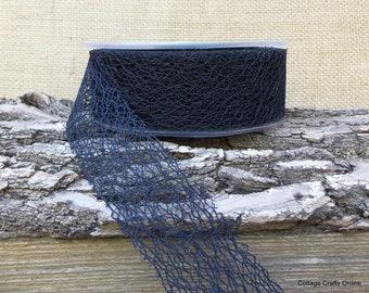 "Ribbon Halloween Black Spider Web 1 1/2"" wide - 25 YARD ROLL - May Arts Webbed Net Black Craft Ribbon"