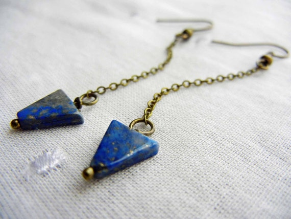 Lapis lazuli arrow earrings - natural blue stone earrings, geometric jewelry, free shipping