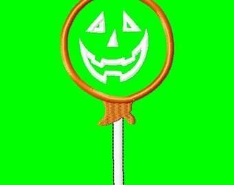 Halloween Lollipop - Pumpkin - Applique - Machine Embroidery Design - 5 Sizes