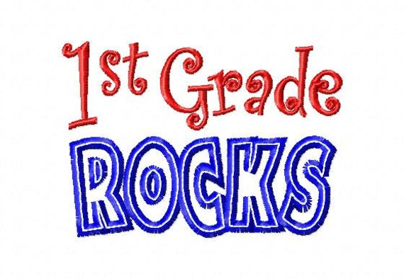 1st Grade ROCKS - Applique - Machine Embroidery Design -  6 sizes