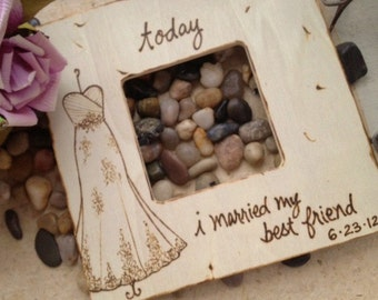 Beautiful Wedding Frame with Bridal Gown and Today I Married My Best Friend with Wedding Date - Beautiful Bridal Shower Gift or Wedding Gift