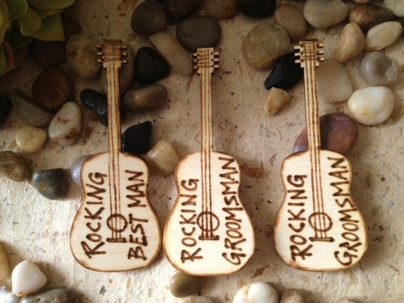 Set of 3 Groomsman Best Man Guitar Pins Decorations Rustic Country Chic Wedding Photo Prop